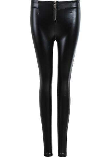 Black Zip PU Pant