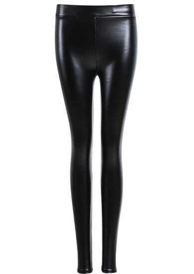 Black Slim PU Pant