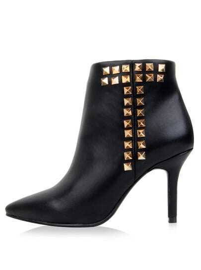 Black Rivet High Heel Leather Shoes