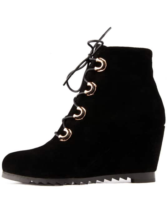 Black Low Heel Leather Boots