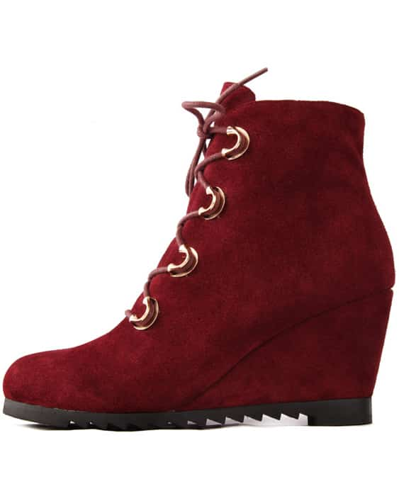 Wine Red Low Heel Leather Boots