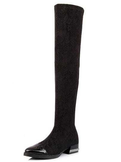 Black Lace Knee Boots