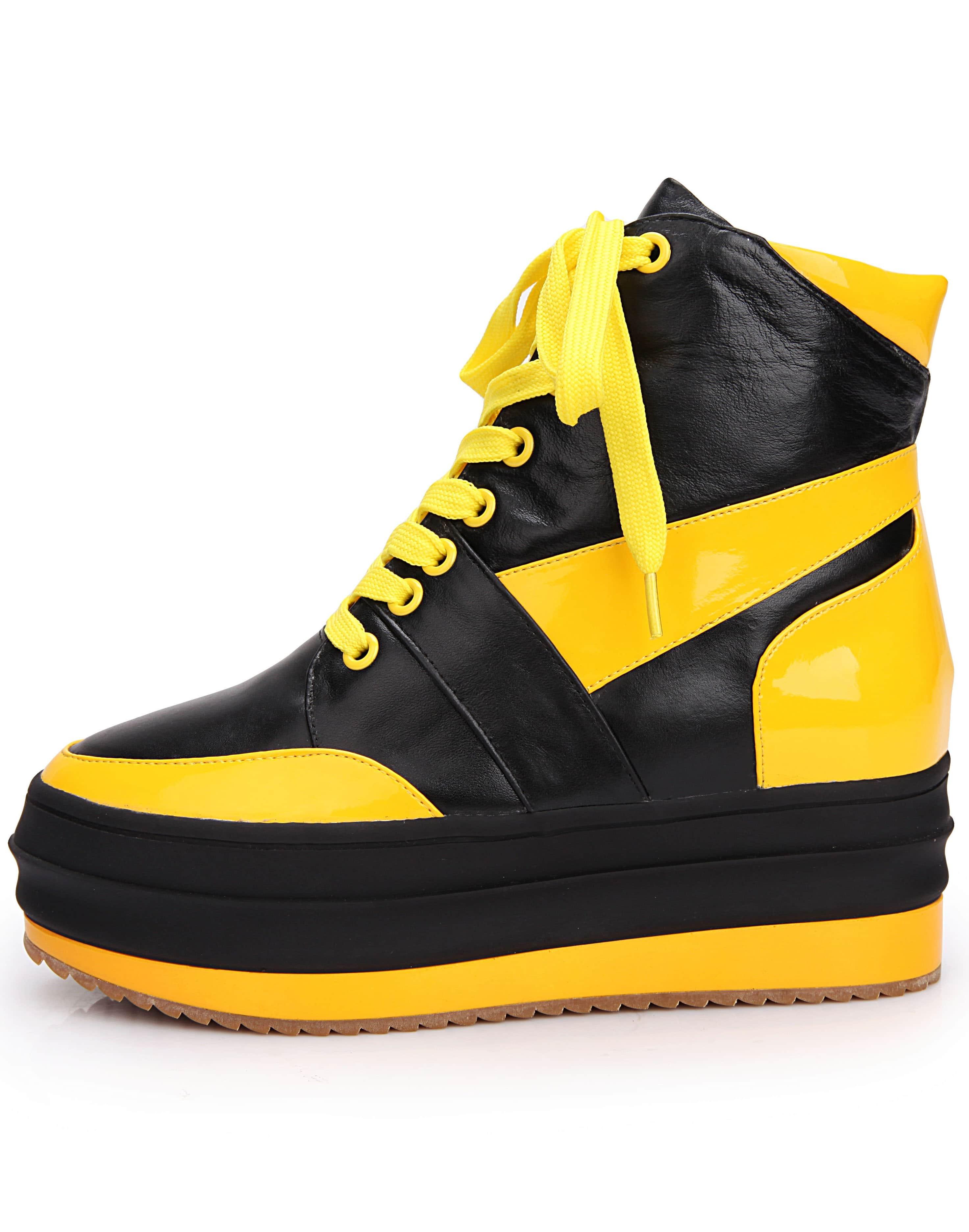 Black Yellow Hidden Platform Leather Shoes