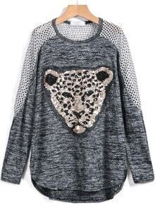 Grey Long Sleeve Sequined Leopard Print Sweater