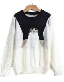 White Long Sleeve Cat Print Loose Sweater