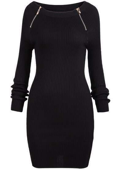 Black Long Sleeve Zipper Slim Dress