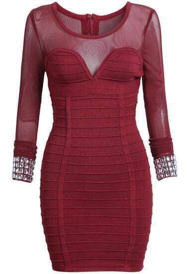 Red Long Sleeve Hollow Bodycon Dress