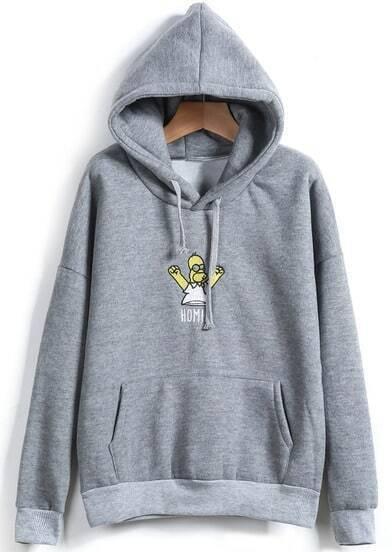 Grey Hooded Simpson Print Loose Sweatshirt