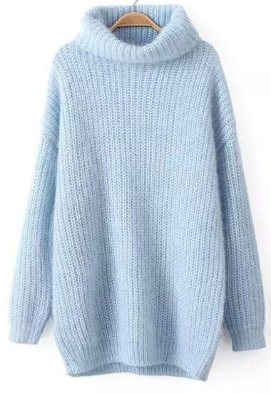 Blue High Neck Long Sleeve Knit Sweater