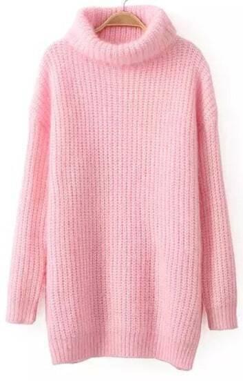 Jersey punto cuello alto manga larga-rosado