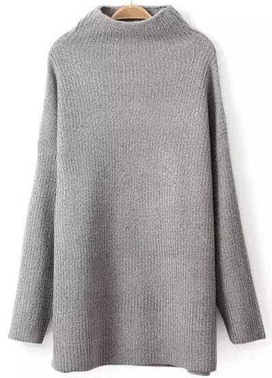 Grey High Neck Loose Knit Sweater