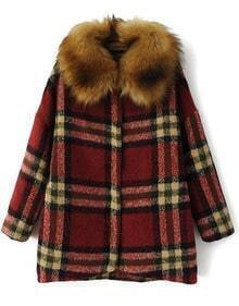 Plaid Woolen Coat with Faux Fur Collar