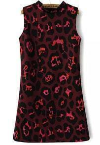 Red Stand Collar Leopard Slim Dress