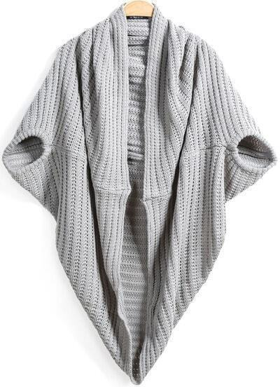 Grey Short Sleeve Cable Wrap Cardigan