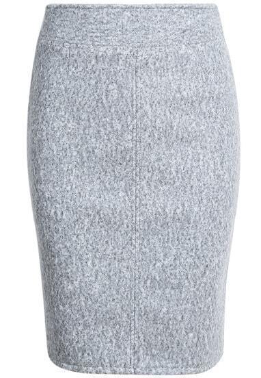 Grey Woolen Split Bodycon Skirt