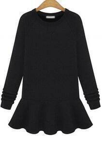 Black Long Sleeve Flare Flouncing Dress