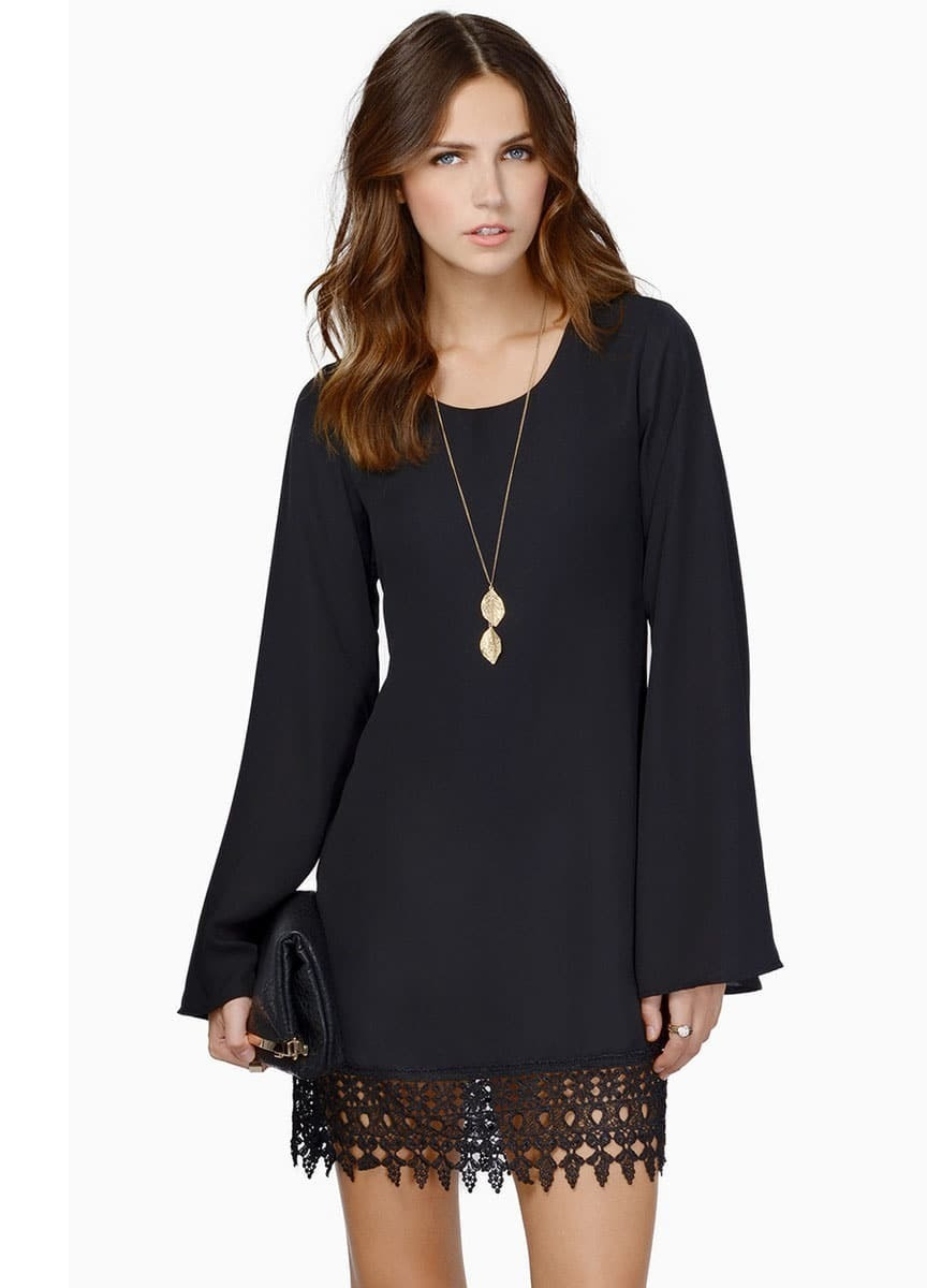 Black Long Sleeve Lace Chiffon