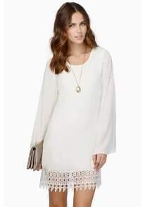White Long Sleeve Lace Chiffon Dress
