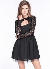 Black Long Sleeve Back Hollow A-line Dress