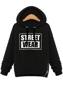 Black Hooded Long Sleeve Letters Print Sweatshirt