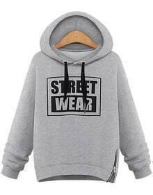 Grey Hooded Long Sleeve Letters Print Sweatshirt