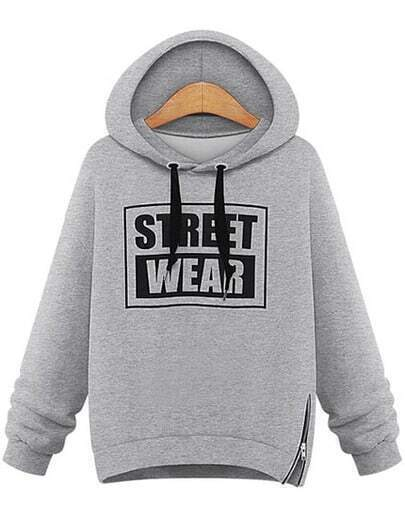 Grey Hooded Long Sleeve Letters Print Sweatshirt