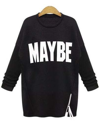 Black Long Sleeve MAYBE Print Zipper Sweatshirt