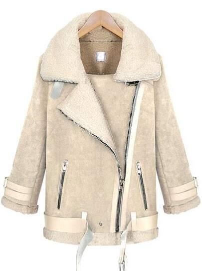 White Lapel Long Sleeve Oblique Zipper Coat