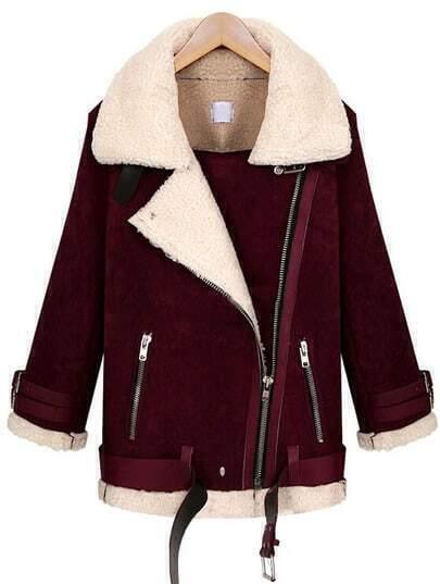 Red Lapel Long Sleeve Oblique Zipper Coat