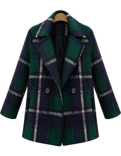Green Lapel Long Sleeve Plaid Woolen Coat