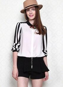 Black White Long Sleeve Striped Chiffon Blouse