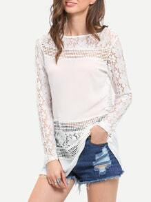 White Long Sleeve Floral Crochet Lace Blouse