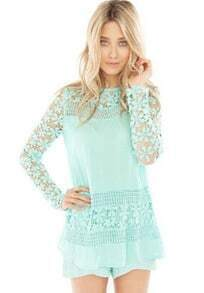Sky Blue Long Sleeve Floral Crochet Lace Blouse