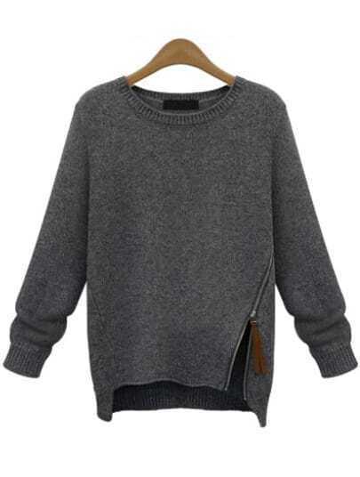 Grey Long Sleeve Zipper Knit Sweater
