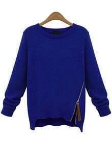 Blue Long Sleeve Zipper Knit Sweater