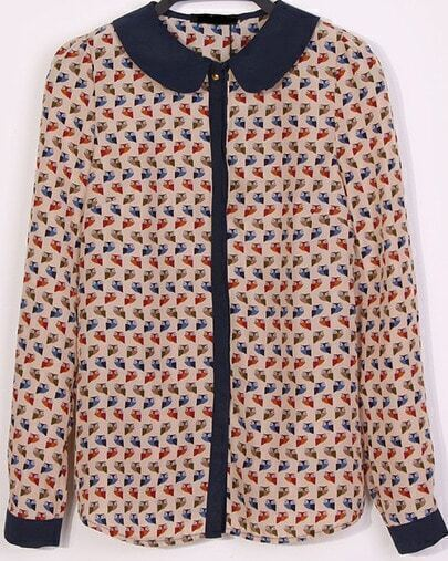 Long Sleeve Lapel Blouse with Fish Print