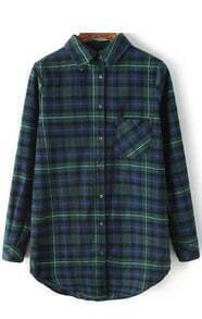 Dark Green Plaid Pocket Collar Blouse