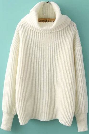 White High Neck Long Sleeve Sweater