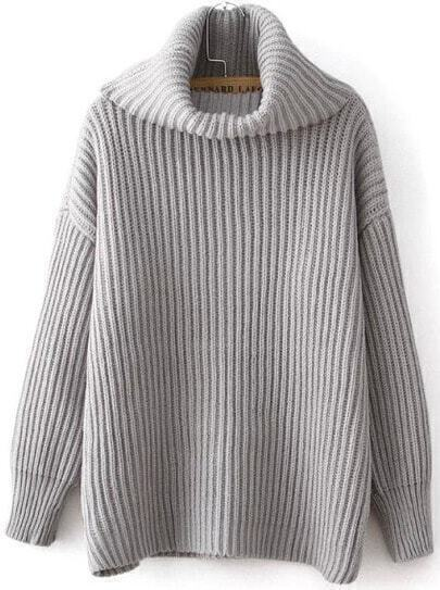 Grey High Neck Long Sleeve Sweater
