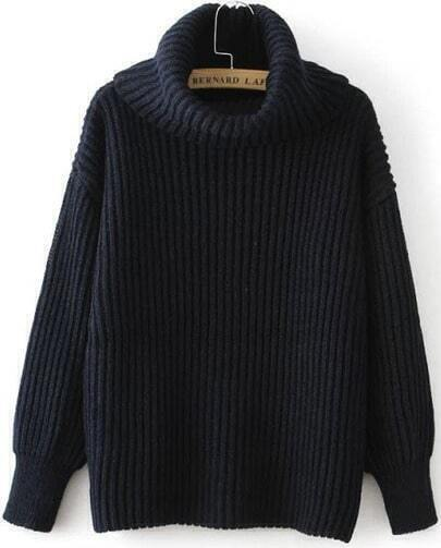 Black High Neck Ribbed Loose Sweater