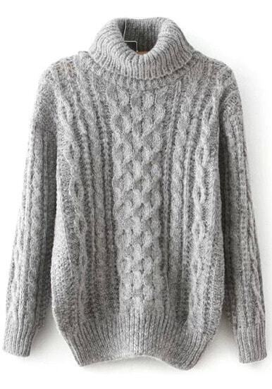 Grey Long Sleeve High Neck Cable Sweater