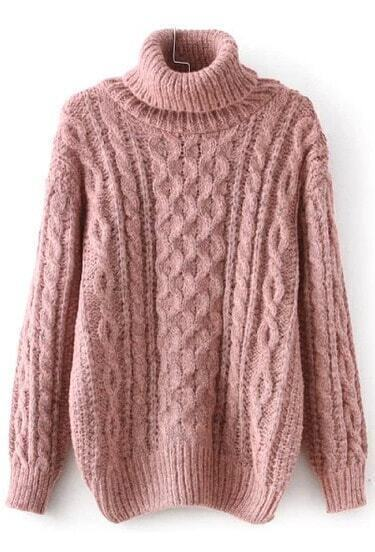 Pink Long Sleeve High Neck Cable Sweater
