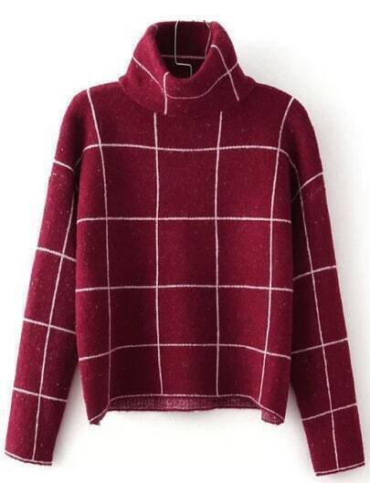 Dark Red Plaid Sweater with High Neck