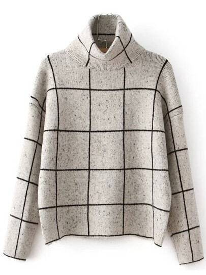 Beige Plaid Sweater with High Neck