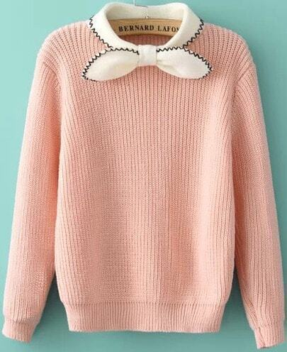 Pink Bow Embellished Pullover Sweater