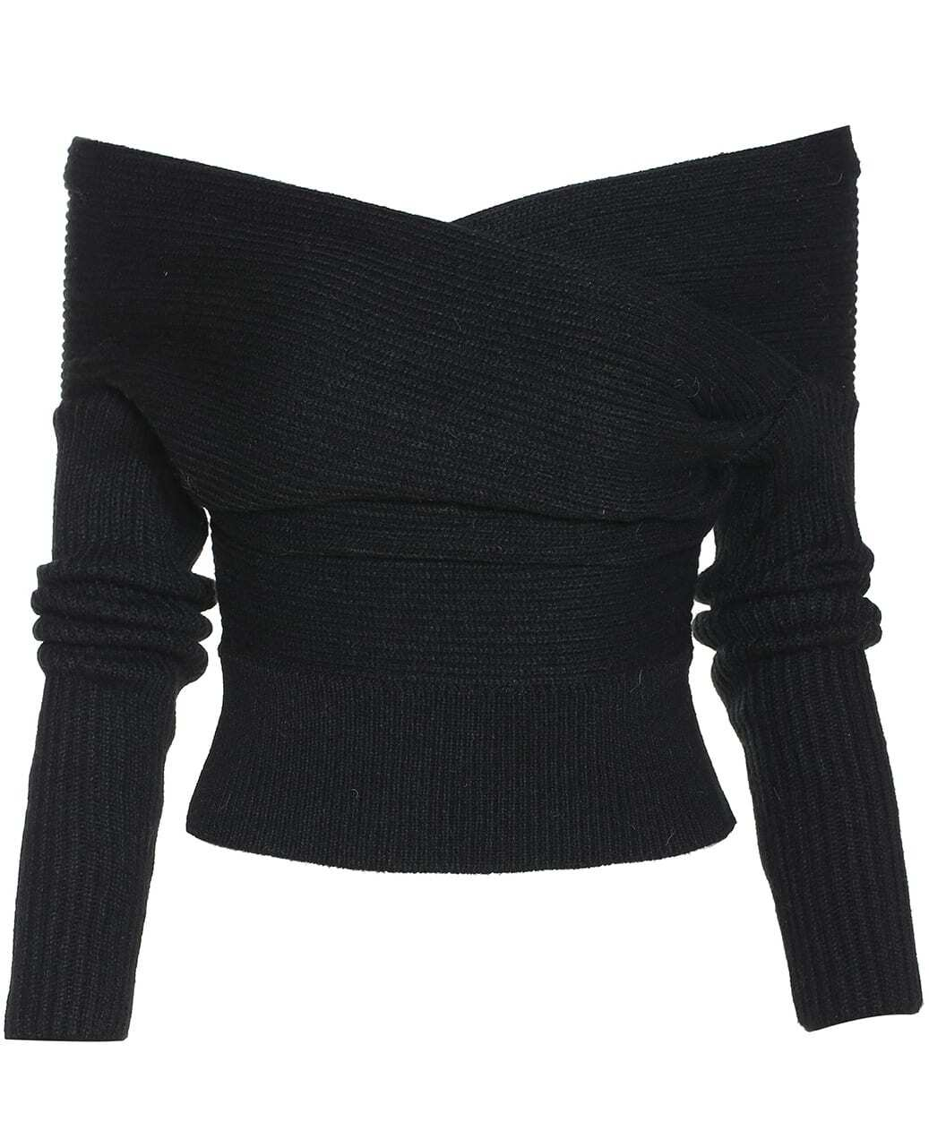 Black Boat Neck Ribbed Sweater -SheIn(Sheinside)