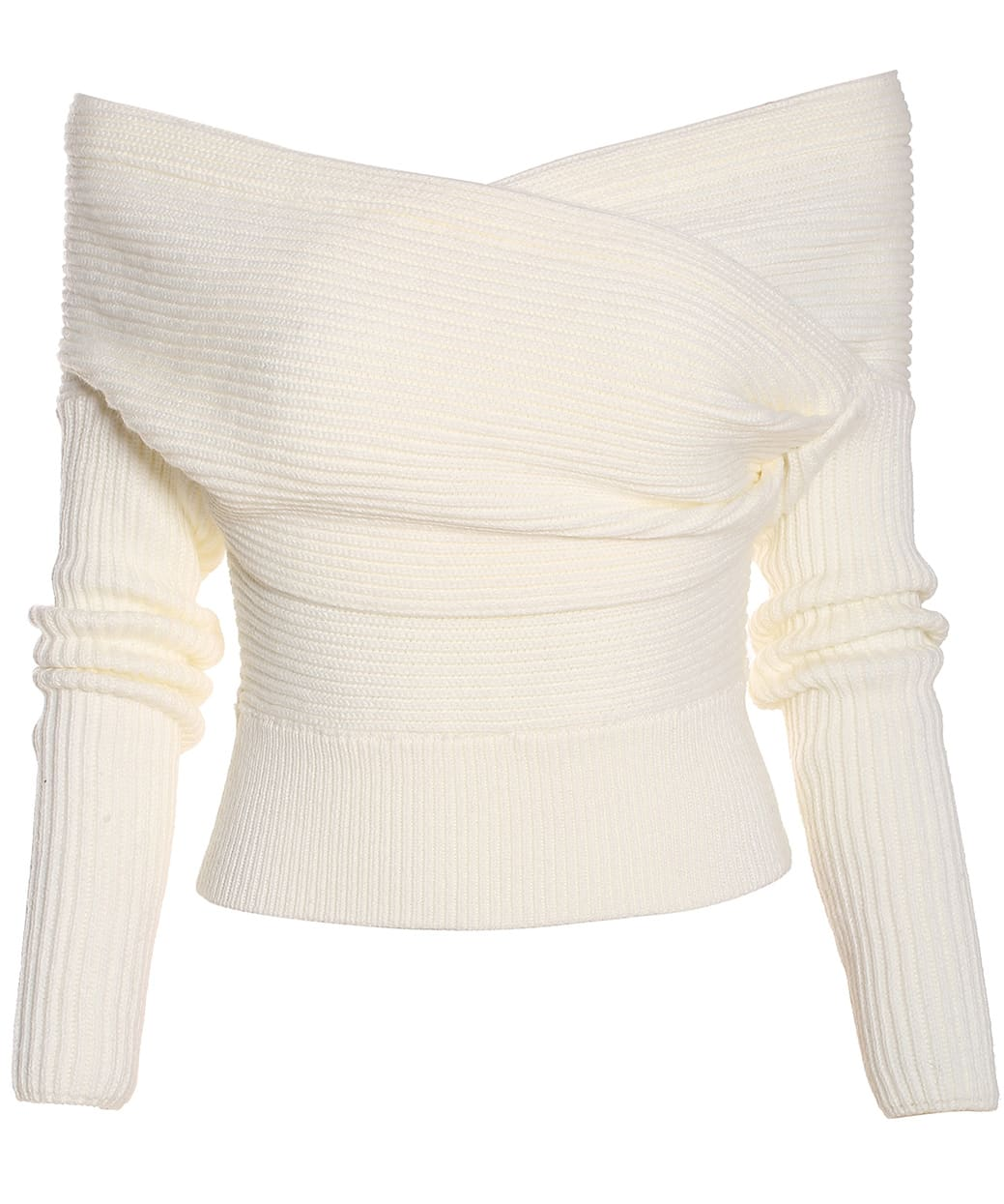 White Boat Neck Ribbed Sweater Shein Sheinside