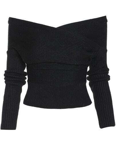 Black Boat Neck Ribbed Sweater