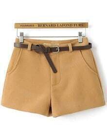 Light Brown Belted Woolen Shorts
