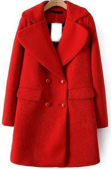 Red Lapel Pocket Double Breasted Woolen Coat